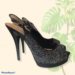 Guess black stiletto open toed sparkly heels